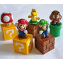 Kit 5 Bonecos Miniaturas Turma Do Mario Blocos Prontaentrega