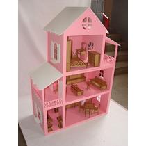 Casa Para Boneca Barbie Grande Mobiliada - 130x40x88 - Mdf