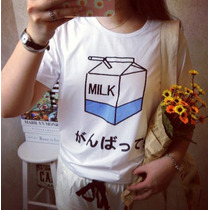 Camiseta Baby Look Caixinha De Leite. ( Milk )