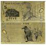 Cedula Dourada ''new Zealand 5 Dollars'''
