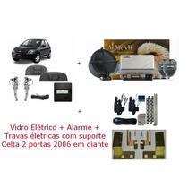 Kit Vidro Elétrico + Trava + Alarme Para Celta 2 Portas
