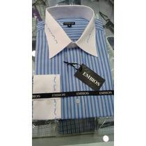 Camisa Social Manga Longa (bordado No Colarinho E No Punho)