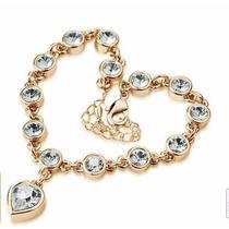 Pulseira Feminina Banhado Ouro 18k Coração Victoria´s Secret