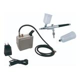 Kit Mini Compressor + Aerógrafo Dupla Ação 0,3 Mm C/ 2 Copos