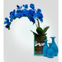 Arranjo Orquídea Artificial Azul De Silicone Macio Grande
