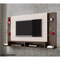 Home Painel Teater Tv 42 Parede Malbec Branco Marrom Cinza