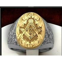 Anel Luxury Maçonaria Masculino Ouro18k E Prata 950