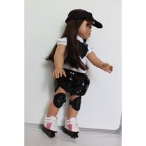 Roller + Joelheira + Viseira Para Boneca Tipo American Girl