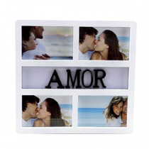Painel Porta Retrato De Parede 4 Fotos 10x15 Amor / 7200