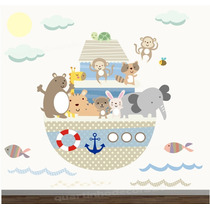 Adesivo Safari Arca Noe Papel Parede Infantil Bebe Zoo M69