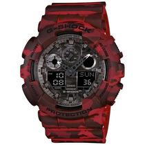 Relógio Masculino Casio G-shock Ga-100cm-4adr 51mm Vermelho