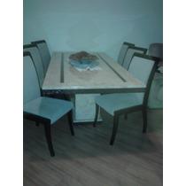 Mesa De Mármore Trabalhada Em Rattan Com 6 Cadeiras 2,00x1,0