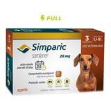 Anti Pulgas Simparic 20 Mg 5,1 - 10 Kg Com 3 Comprimidos -f