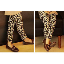 Calça Legging Leopardo Infantil Importada Tecido Aveludado