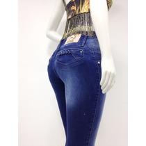 Calça Jeans Feminina Justa Bolso Com Detalhe Trançando Linda