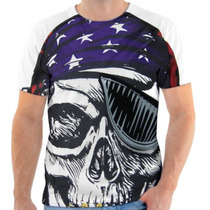 Camiseta Camisa Caveira Pirata Bandeira Estados Unidos Eua