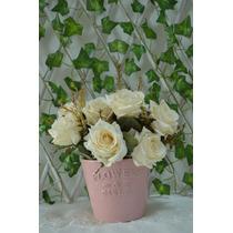 Lindo Vaso Rosa C/ Flores Artificiais - Pronto P/ Enfeitar