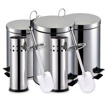 Kit 3 Lixeiras Aço Inox Com Pedal 3l + 2x5l + 2 X Escovas