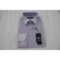 Camisa Social Masculina Armani , Cor Lavanda Branco