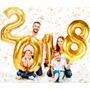 Balão Metalizado  Ano Novo 2018 Dourado Grande 32 Polegadas