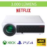 Projetor 4k Led 3000 Lumens Cinema Hdmi Netflix Ps4 Xbox