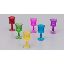 Jogo 6 Taças Vidro Esculpidas Coloridas 30ml Licor R 25156