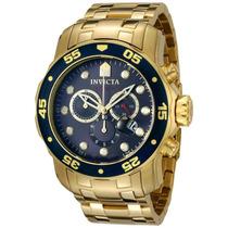 Lindo Relógio Invicta Pro Diver Scuba 0073 -banhado Ouro 18k