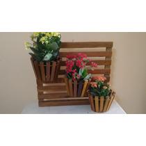 Suporte Vertical Para Flores Plastas Em Madeira 3 Vasos