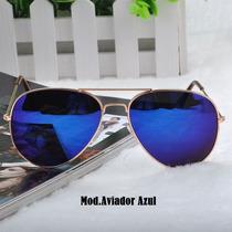 Óculos De Sol Aviador Azul Espelhado Unissex-pronta Entrega