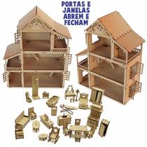 Casa Casinha Boneca + 27 Mini Moveis Boneca Poly Janela Abre