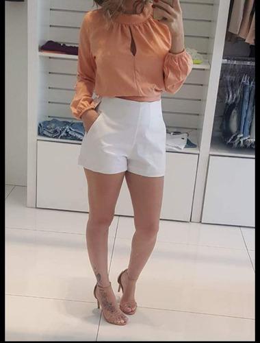 60e59777d Short Social Feminino Cintura Alta Tecido Alfaiataria. Preço: R$ 99 Veja  MercadoLibre