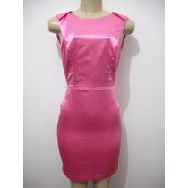 Vestido Rosa Pink Cetim Curto Tam P Usado Bom Estado