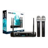 Microfone Sem Fio Duplo Vhf Profissional Vokal Vws-20 Plus