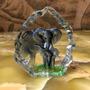 Linda Escultura Peso De Papel Cristal Figura De Elefante Original