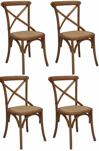 Kit 04 Cadeiras Katrina Paris Com Assento Em Rattan