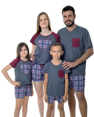 35945ba19 Kit Familia 3 Pijamas Curto Verão Frete Gratis. R  189. 2 vendidos