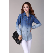 Camisa Manga Comprida Em Algodão Azul Degradê