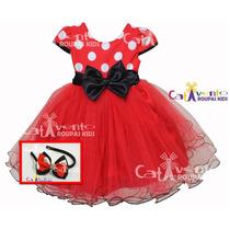 Vestido Infantil Festa Minnie Com Tiara De Brinde
