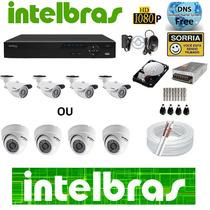 Kit 4 Cameras Intelbras Dvr 4 Canais Intelbras Hdcvi Hd 1tb
