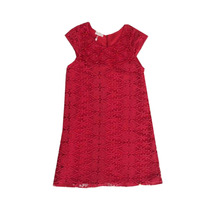 Vestido Infantil Vermelho De Renda Com Perolas
