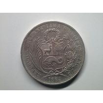 Moeda Peru 1 Sol 1864/54 Arabic Prata