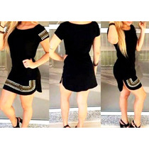 Vestido Feminino Com Pedrarias - Tecido Grosso Lindas Cores