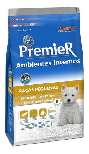 Ração Premier Ambientes Internos Super Premium Cachorro Filhote Raça Pequena Frango/salmão 7.5kg