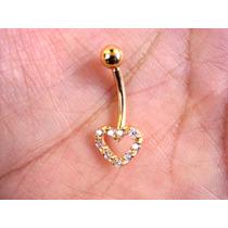 Piercing De Umbigo Barriga Coração Ouro 18k Pedra Zircônia