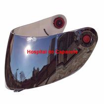 Viseira Shark S650 S700 S800 S900 Espelhada Prata Com Botão