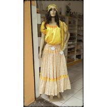 Saia Estampada Floral Amarela - Umbanda - Cigana