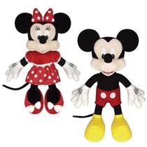 2 Boneco Pelúcia Disney Minnie E Mickey Original Licenciada
