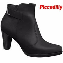 Bota Piccadilly Ankle Boot Conforto Preto Salto 7 Cm 130181