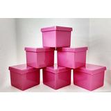 50 Caixinha De Acrílico 4x4x3,3cm Tampa Presente - Rosa Chá