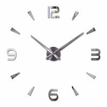 Relógio De Parede Espelhado 3d Grande Sala Decoração